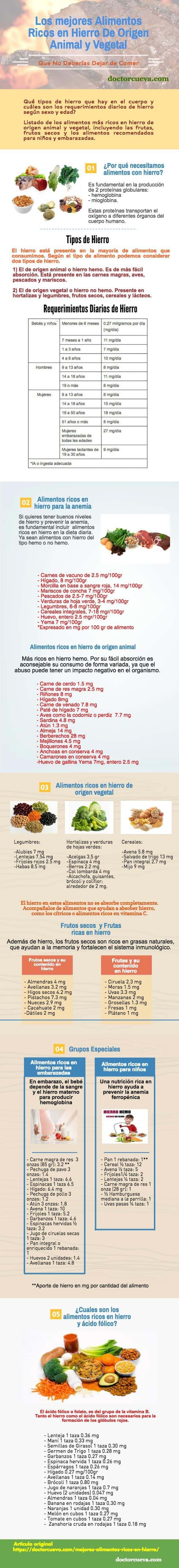 En que alimentos encontramos hierro y acido folico
