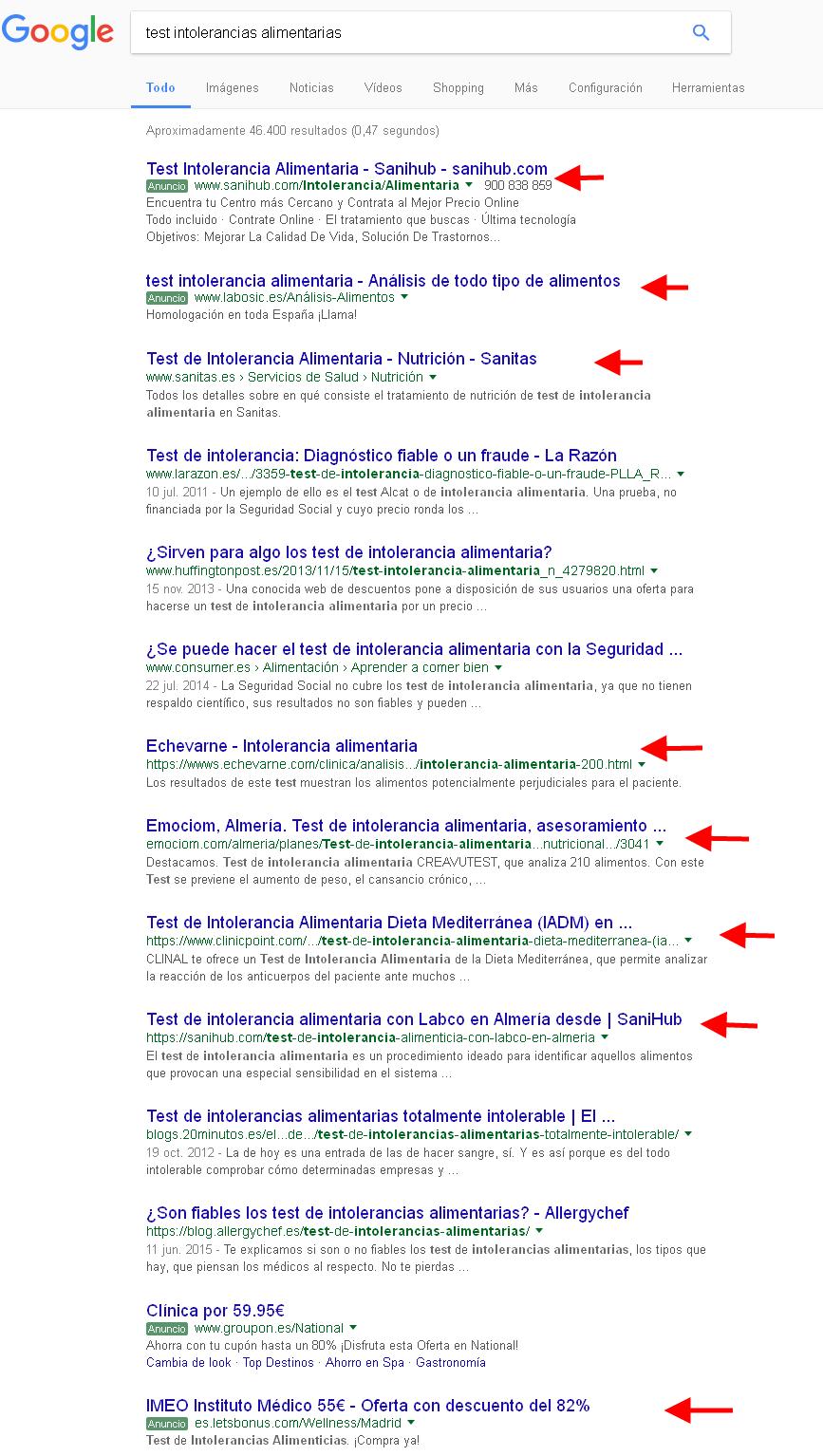 intolerancias alimentarias google
